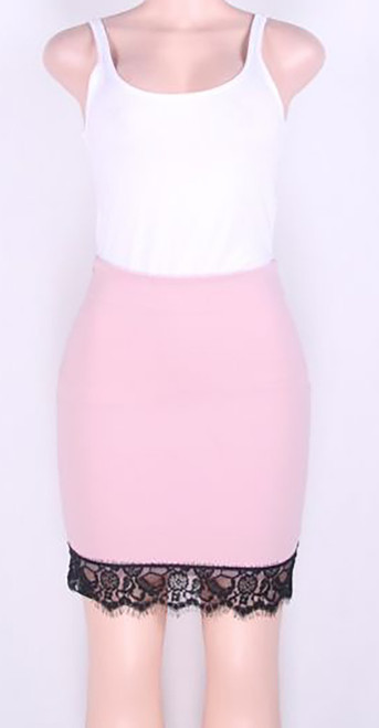Fashion Skirt with Lace Trim Pink (4-74)