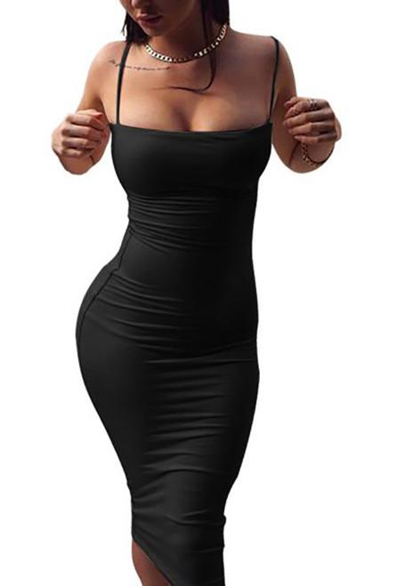Sling Tight Chic Midi Dress Black (4-81)
