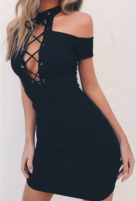Sexy, Club Lace Up Open Shoulder Sexy Mini Dress Black (4-84)