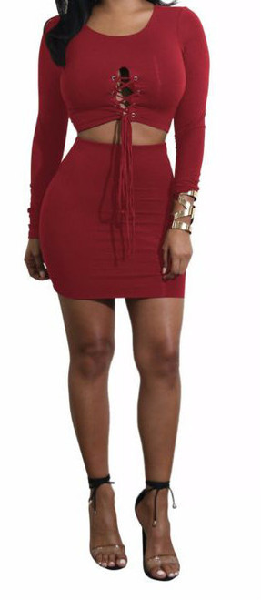 Two Piece Shirt & Skirt Strappy Long-Sleeves Outfit Red (4-86)
