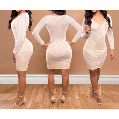 Mesh See Through Sexy Tight Club Dress Light Beige (4-90)