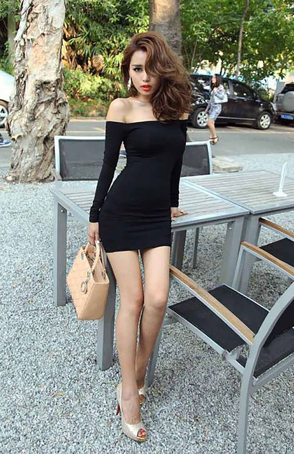 Clubwear Sexy long sleeve Bodycon Black Dress (4-112)