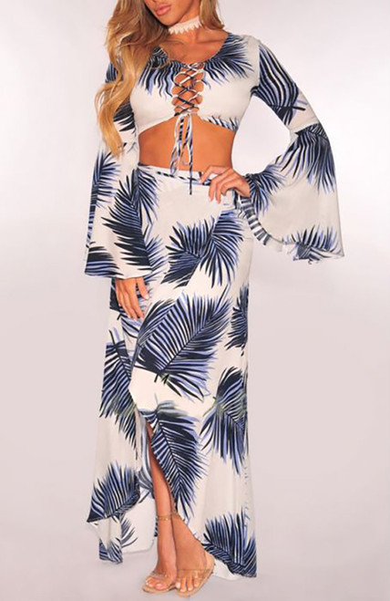 Two Piece BOHO CHIC Leave Print Strappy Front Bell Long-Sleeves Blue-White (4-117)