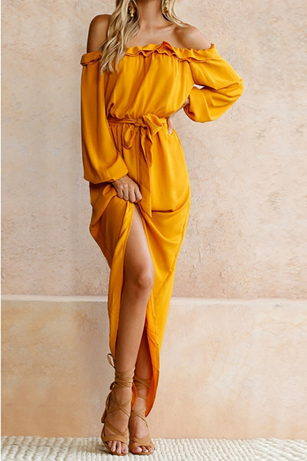 Sexy, Ruffle Off Shoulder Flounce Sexy Cotton Dress (4-126)