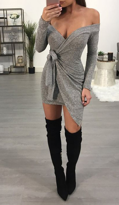 Sexy Off Shoulder Belted Mini Dress Gray (4-144)