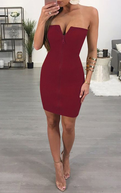 Sexy Strapless Zipper Front Mini Dress Red (4-146)