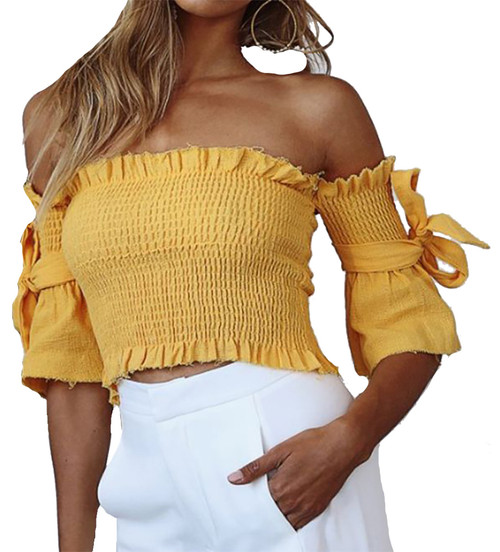Off Shoulder Bow Sleeves Ruched Bodice Yellow Top (4-151)