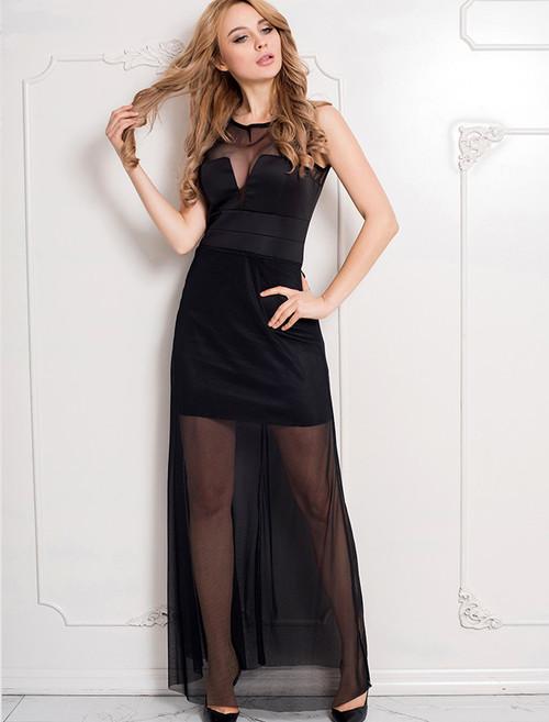 Sleeveless Short Dress with Floor Length Sheer Overlay Black (3-6)