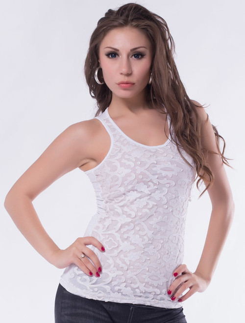 White Leather Lace Surface Sleeveless Top (3-11)