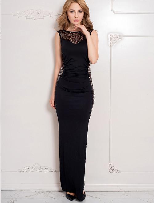 Ruffled Sequin Lace Trim Black Maxi Dress (3-12)