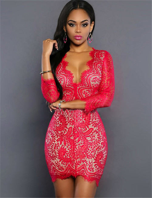 Glamorous Fashion Red Floral Overlay Clubwear (3-15) (3-15) (view)