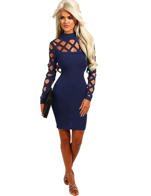 Fashion Sexy Dark Blue Slim Fit Bodycon Dress (3-19)