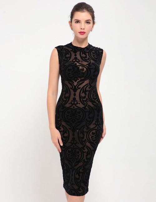 Elegant Embroidery Fashion Dress Black Bodycon (3-22)