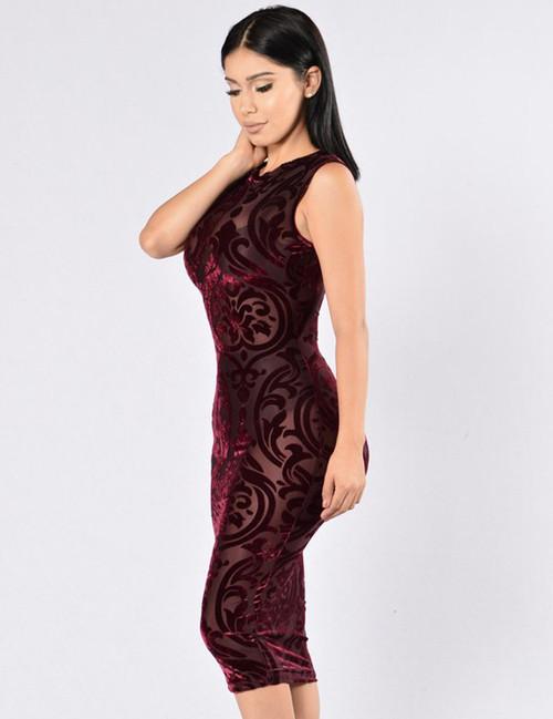 Dark Red Elegant Simple Pattern Fashion Dress (3-23)