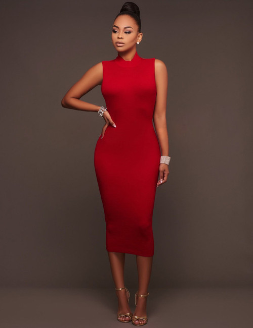 Red High Neck Strappy Backless Party Midi Dress (3-26)