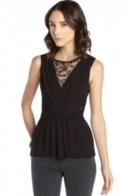 Jersey and Lace Cutout Sleeveless Top Black (1-77)