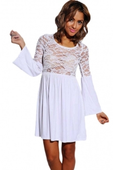 5492f438d987 Sheer Lace Bell Sleeve Retro Party Skater Dress White (2-32)