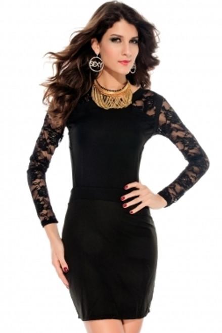Fashionable Black Long Lace Sleeves Dress (2-11)