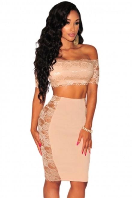 9edc37198b29fe Lace off Shoulder Crop Top Skirt Set (2-65) - 5dollarfashions.com