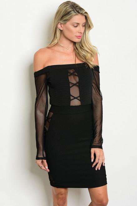 Off Shoulder Sheer Black Dress (7-11)