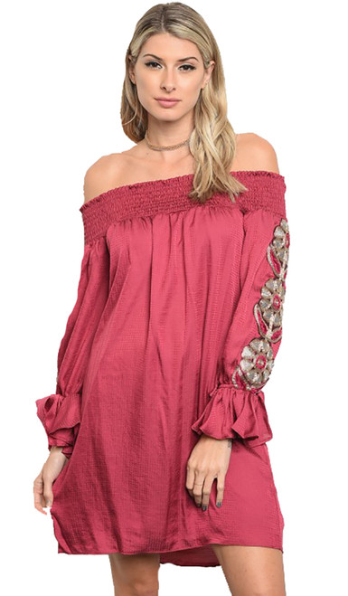 Elegant Off Shoulder Skater Dress Floral Applique Raspberry (8-5)