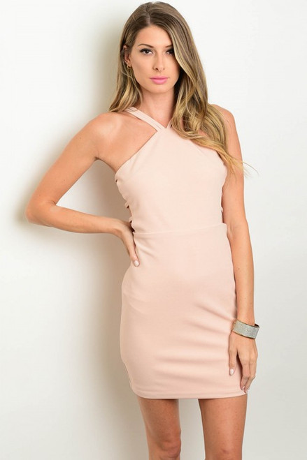 Halter Front Sleek V Back Soft Pink Dress (8-7)