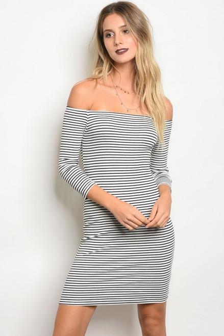 Stripe Off SHould Bodycon Navy & White dress (8-8)