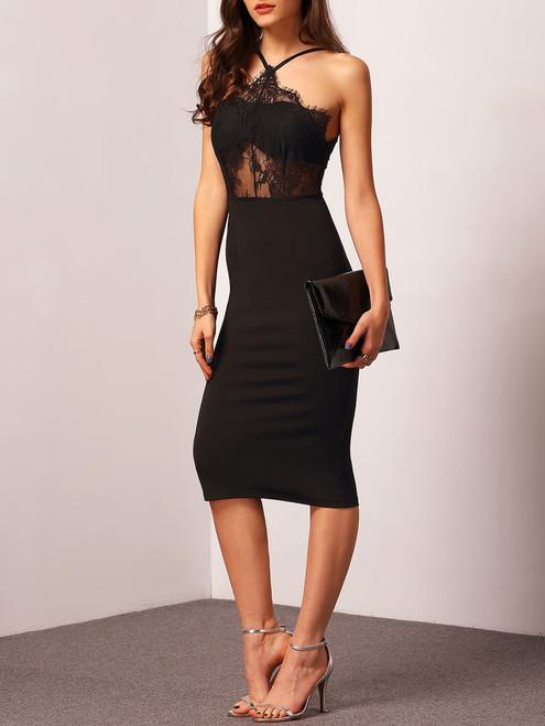 Elegant Halter-Strap Lace Detail Black dress (10-2)