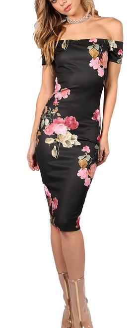 Sexy Bardot Neckline Floral Black Dress (10-6)