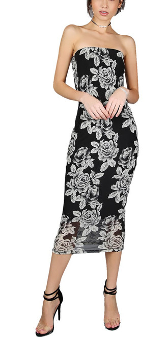 Sexy Bandeau Pencil Black & White Floral dress (10-8)