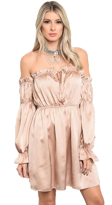 Satin Ruffle Off  Shoulder Elegant Skater Blush Dress. (11-3)