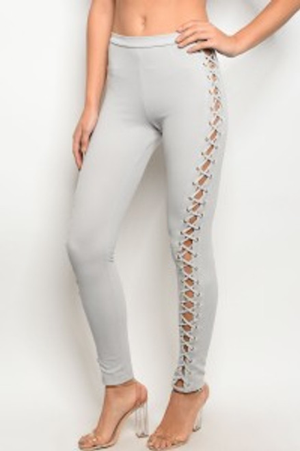 Light Weight Criss Cross Sides Dove Grey Fitted Pants. (11-8)