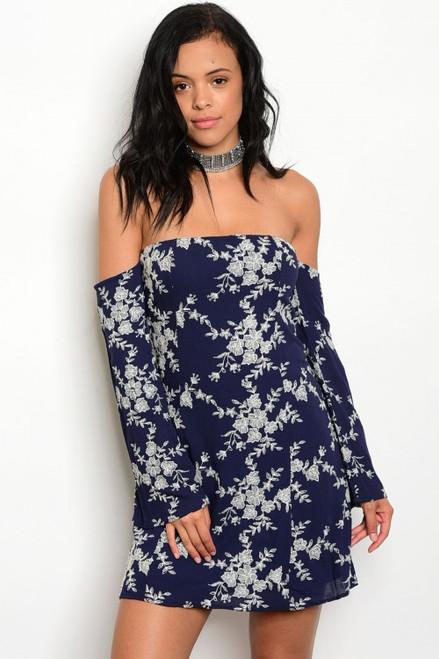 Off Shoulder Long Sleeve Floral Navy Dress. (11-17)