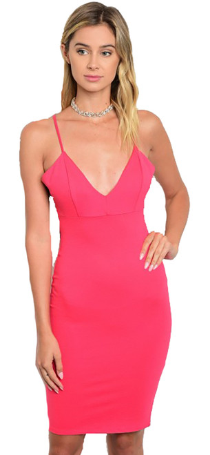 Spaghetti Strap Lace Back Fire-Coral Dress (11-23)