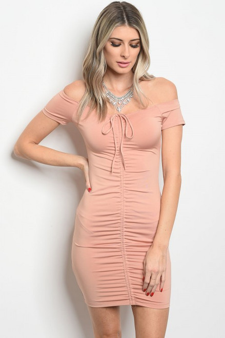 Ruched Front Tie Short Sleeve Blush Dress  (11-24)
