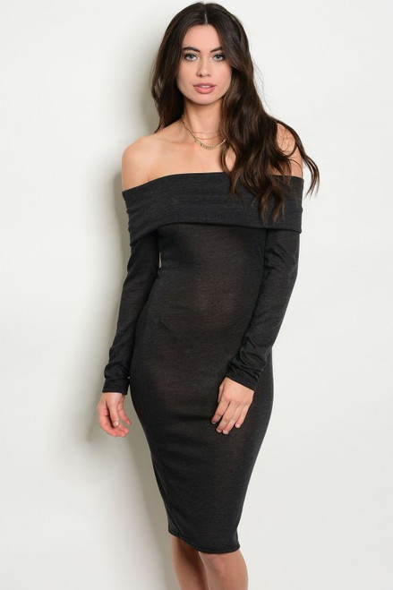 Elegant Off Shoulder Charcoal Dress (11-34)