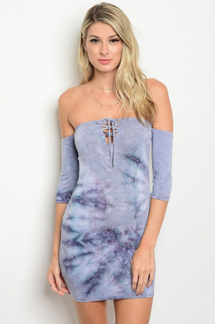 Lavender Fitted Tie Dye Bodycon Dress (11-38)