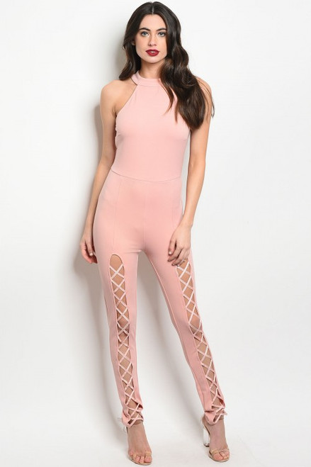 Sexy Lace Up Fitted Light Blush Jumpsuit  (11-44)