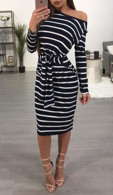 Comfy Stripe Off Shoulder Belted Black Dress  (13-1)