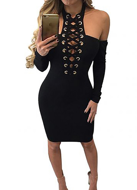 2c7204bb354 Sexy Lace Up Cold Shoulder Black Dress (13-6) - 5dollarfashions.com