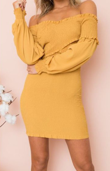 Sunshine Yellow Ruched Off Shoulder Chiffon Dress (13-13)