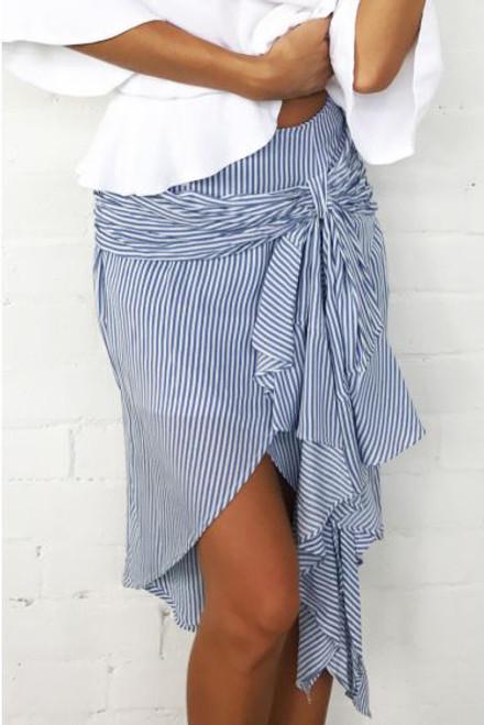 Blue & White Striped Wrap Tie Skirt (13-23)
