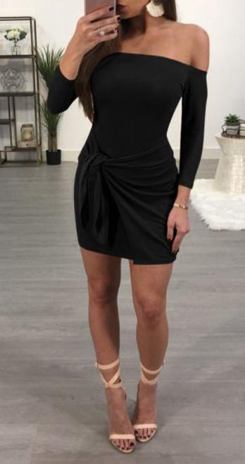 Sexy Off Shoulder Front Knot Black Dress (13-47)
