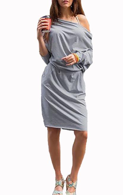 Cotton Off the Shoulder Loose Midi Gray Dress (13-55)