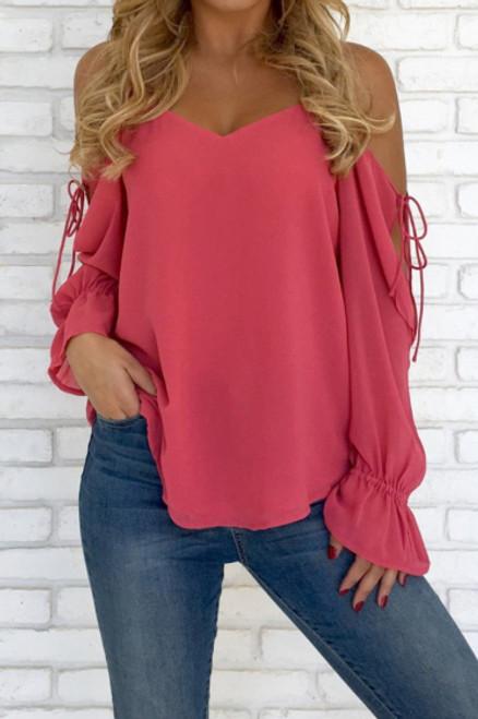 Cute Chiffon Strappy Cold Shoulder Pink Top (13-145)