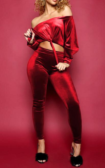 Velvet Firey Red Crop Top &  Pant Set (13-157)