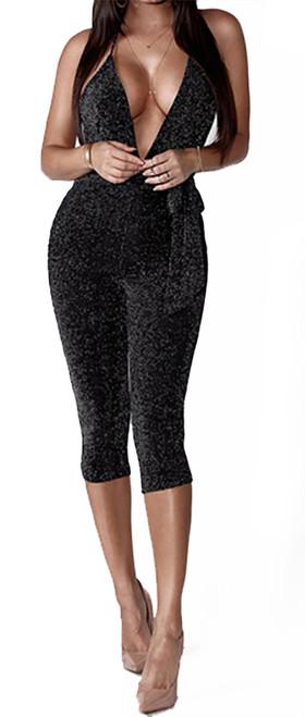 Sexy Halter Shimmer Black Capri Jumpsuit (13-174)