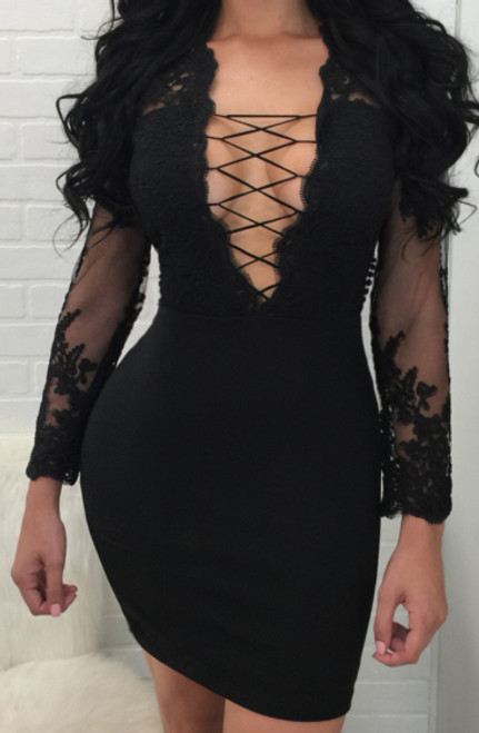 Sexy Lace Bodycon Black Dress (13-182)