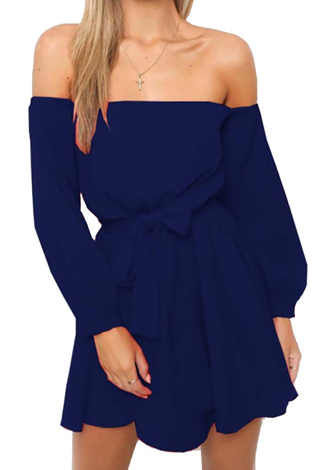 Long Sleeve Off Shoulder Mini Blue Dress (13-193)