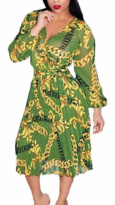 Sheer Chiffon Chain Print V Neck Green Dress  (13-196)